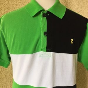 Izod Polo T-Shirt Short Sleeve Green/White/Black L
